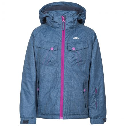 Backspin Girls' Ski Jacket in Navy, Front view on mannequin
