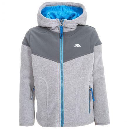 Bieber Kids' Full Zip Fleece Hoodie in Grey, Front view on mannequin