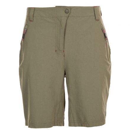 Brooksy Women's Quick Dry Active Shorts in Khaki, Front view on mannequin
