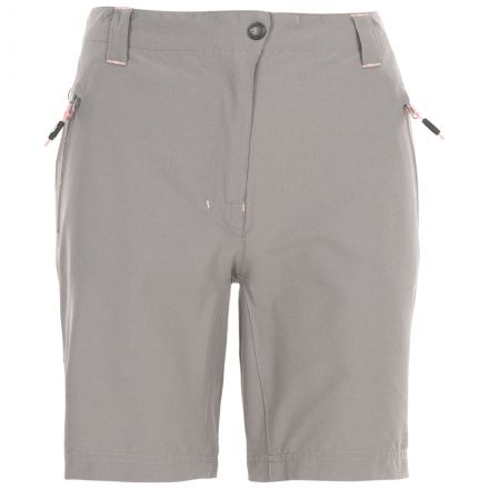 Brooksy Women's Quick Dry Active Shorts in Light Grey, Front view on mannequin