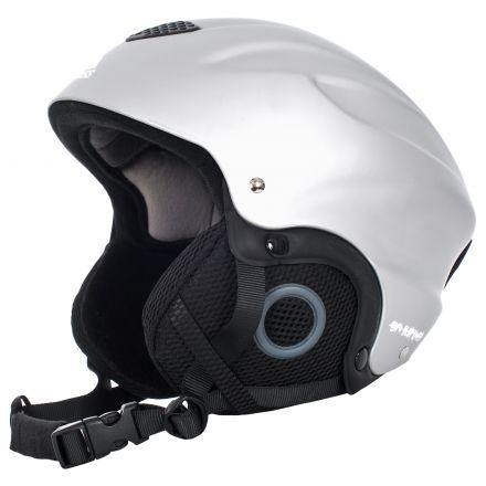 Burlin Kids' Silver Ski Helmet, Angled view of helmet