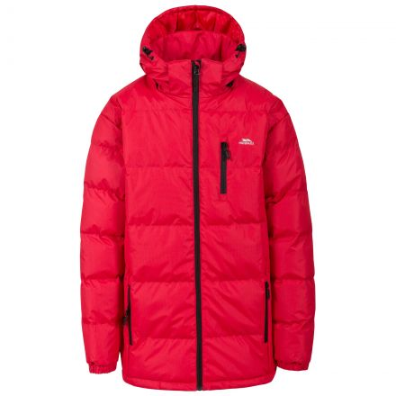 Clip Men's Hooded Padded Casual Jacket in Red, Front view on mannequin