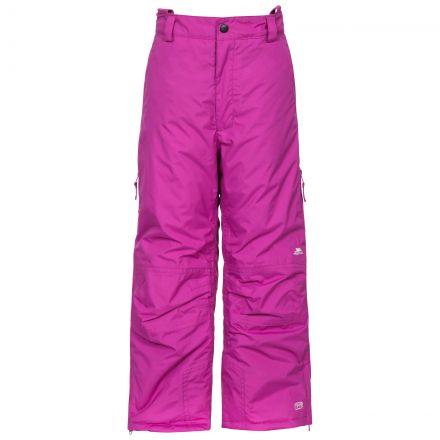 Contamines Kids' Salopettes in Purple, Front view on model