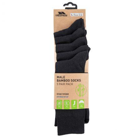 Daily Men's Antibacterial Socks - 5 pack in Black, Angled view of footwear
