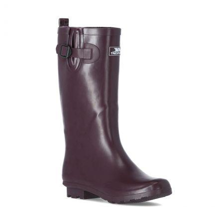 Damon Women's Waterproof Wellies in Burgundy, Angled view of footwear