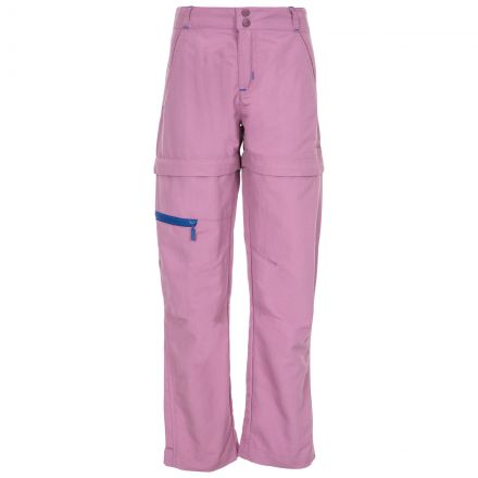 Defender Kids' Convertible Walking Trousers in Purple, Front view on mannequin