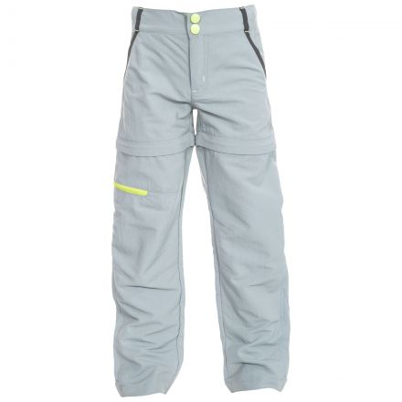 Defender Kids' Convertible Walking Trousers in Grey, Front view on mannequin