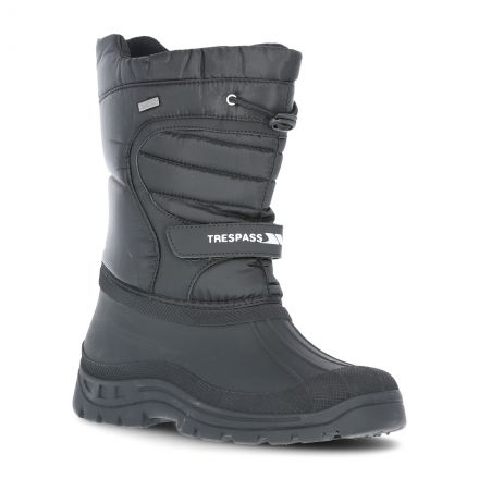 DoDo Adults' Water Resistant Snow Boots in Black, Angled view of footwear
