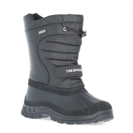 Trespass Kids Snow Boots Water Resistant Fleece Lined Dodo Black, Angled view of footwear