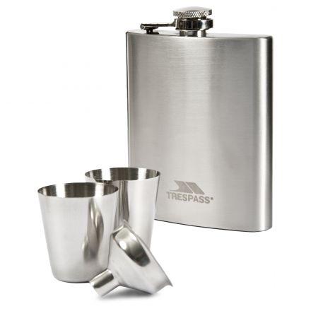 Trespass Steel Hip Flask Set in Light Grey Stainless
