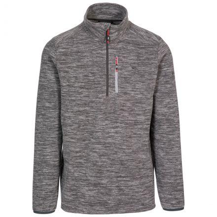 Flatlid Men's 1/2 Zip Fleece in Grey, Front view on mannequin