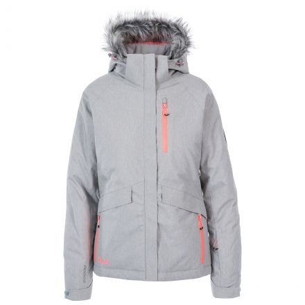 DLX Womens Waterproof Ski Jacket with RECCO Francesca Grey, Front view on mannequin