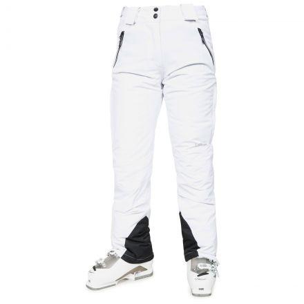 Galaya Women's Waterproof Ski Trousers in White, Front view on model
