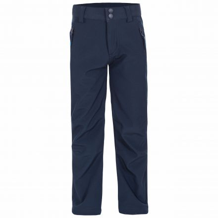 Galloway Kids' Softshell Walking Trousers in Navy, Front view on mannequin
