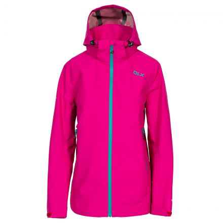 DLX Womens Waterproof Jacket with Hood Gayle in Pink, Front view on mannequin