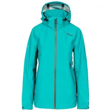DLX Womens Waterproof Jacket with Hood Gayle in Green, Front view on mannequin
