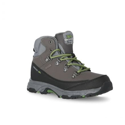 Glebe II Youth Walking Boots in Grey, Angled view of footwear