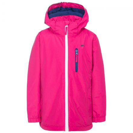 Heddar Kids' Padded Waterproof Jacket in Pink, Front view on mannequin
