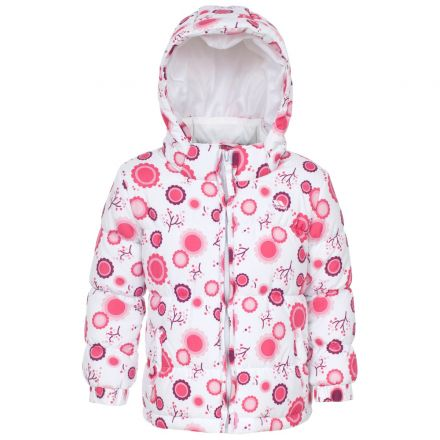 Janet Babies' Printed Water Resistant Jacket in White, Front view on mannequin