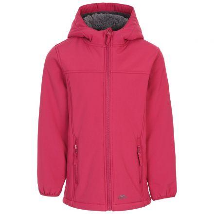 Trespass Girls Waterproof Softshell Jacket Long Kristen in Berry, Front view on mannequin