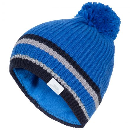 Lit Kids' Bobble Hat in Blue, Hat at angled view