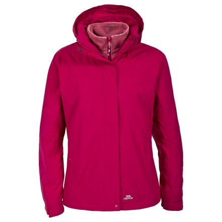 Trespass Womens 3 in 1 Jacket Hooded Madalin in Pink