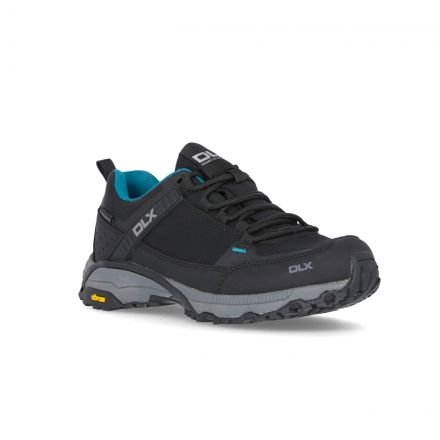 Messal Women's DLX Vibram Walking Shoes in Black, Angled view of footwear