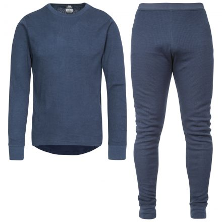 Mystery Adults' Super Soft Thermal Set in Navy, Front view on mannequin