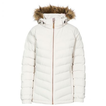 Trespass Womens Padded Jacket Hooded Nadina White, Front view on mannequin