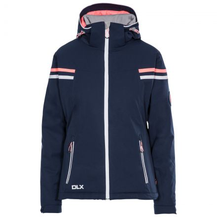 DLX Womens Waterproof Ski Jacket Recco Natasha in Navy, Front view on mannequin