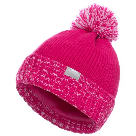 Trespass Kids Bobble Hat Knitted Fleece Lined Nefti Pink, Hat at angled view