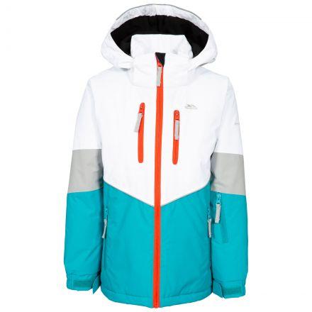 Olivvia Kids' Ski Jacket in Blue, Front view on mannequin