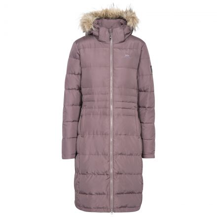 Trespass Womens Down Parka Jacket Long Phyllis in Light Purple, Front view on mannequin