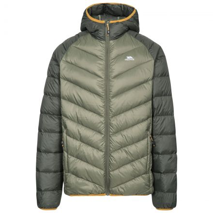 Rusler Men's Hooded Down Jacket  in Khaki, Front view on mannequin
