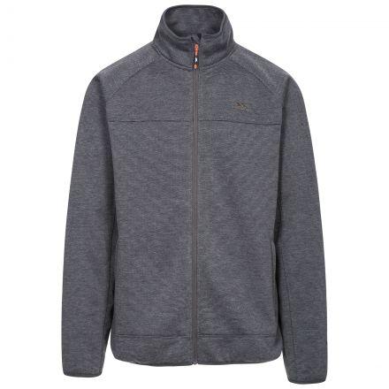 Rutland Men's Fleece Jacket in Grey, Front view on mannequin