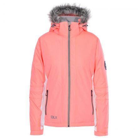 Sandrine Women's DLX Waterproof RECCO Ski Jacket in Peach, Front view on mannequin