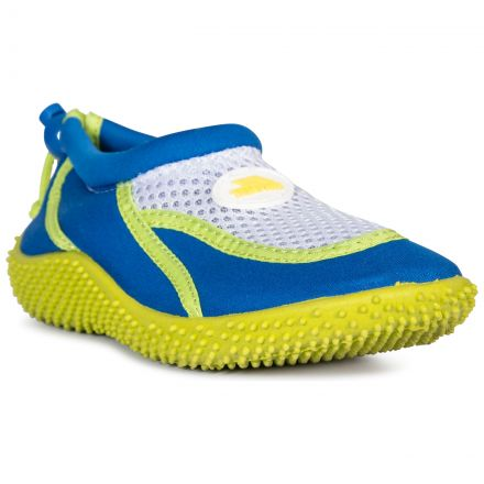 Squidder Kids' Aqua Shoes in Blue, Angled view of footwear