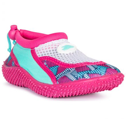 Squidette Kids' Aqua Shoes in Pink, Angled view of footwear