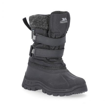 Strachan II Kids' Waterproof Snow Boots in Black, Angled view of footwear