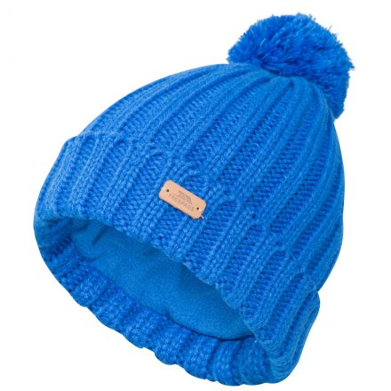 Thorns Adults' Bobble Hat in Blue, Hat at angled view