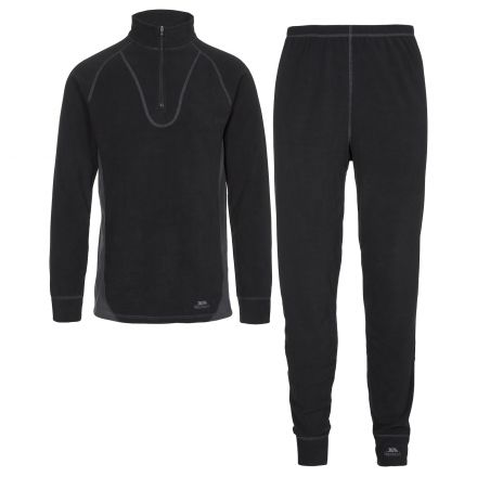 Trespass B Adults Thermal Base Layer Set in Black Thriller
