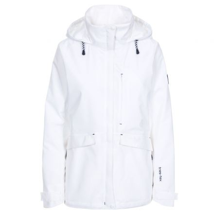 Voyage Women's Waterproof Jacket in White, Front view on mannequin