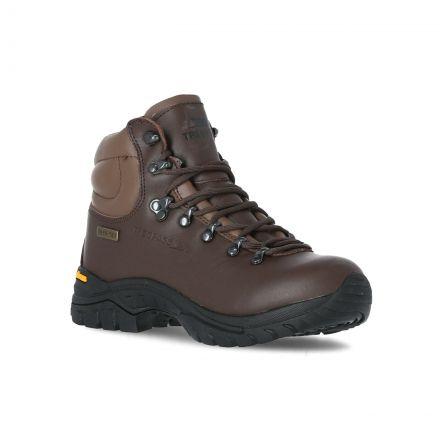 Walker Kids' Vibram Walking Boots in Brown, Angled view of footwear