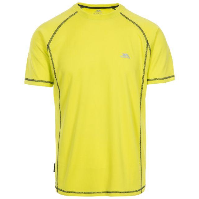 Albert Men's Quick Dry Active T-Shirt in Neon Green, Front view on mannequin