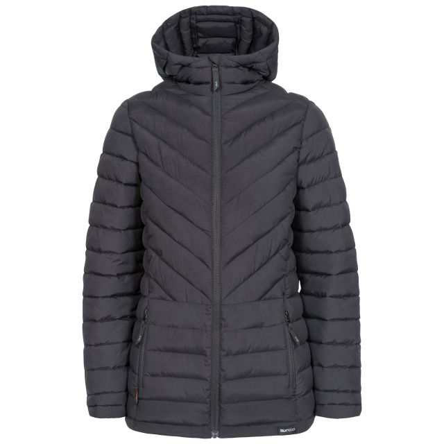 DLX Womens Padded Jacket Eco Friendly Althea in Black, Front view on mannequin