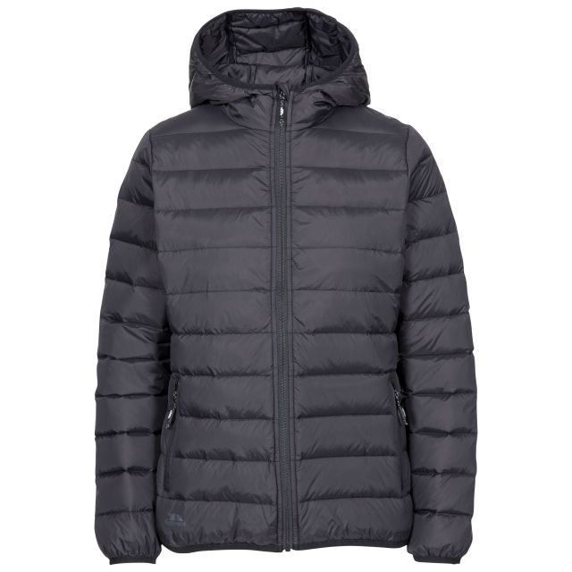 Trespass Womens Down Jacket with Hood Amma in Black, Front view on mannequin
