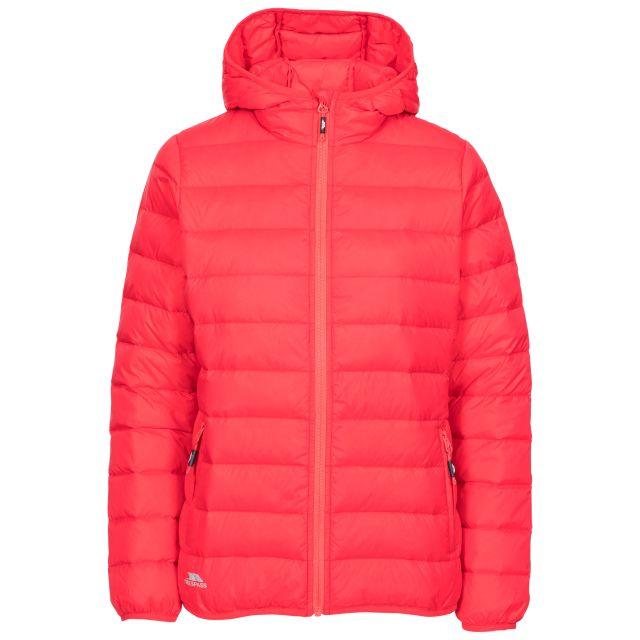 Trespass Womens Down Jacket with Hood Amma in Hibiscus, Front view on mannequin