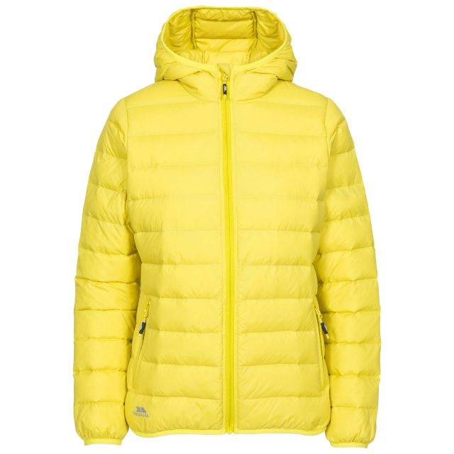 Trespass Womens Down Jacket with Hood Amma in Pineapple, Front view on mannequin