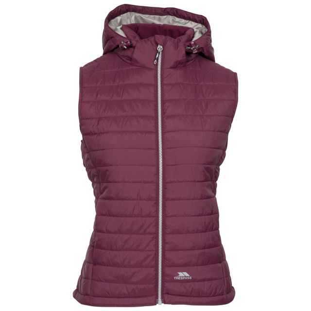 Trespass Womens Hooded Padded Gilet Aretha Fig, Front view on mannequin