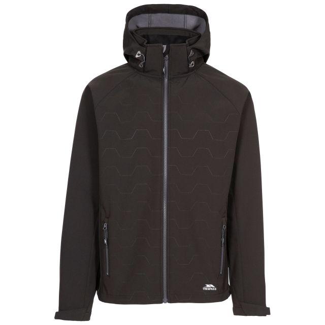 Arli Men's Lightweight Softshell Jacket in Black, Front view on mannequin